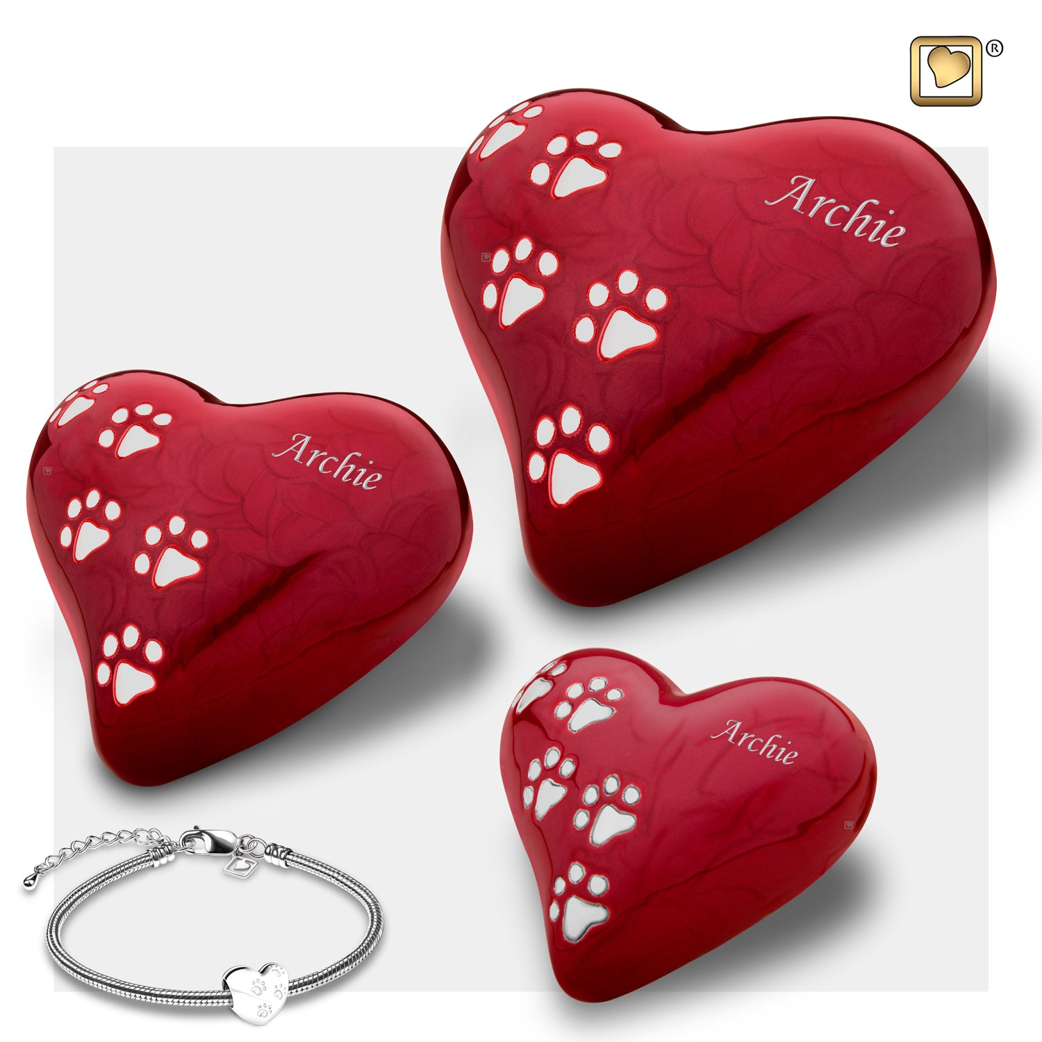 Heart Keepsake Pet Pearlescent Red Urn