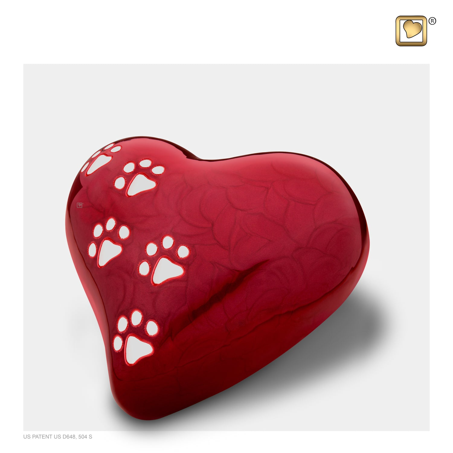 Heart Pet Pearlescent Medium Red Urn