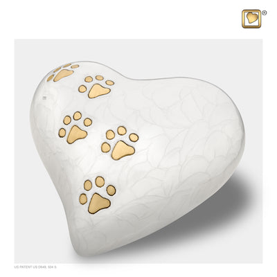 Heart Pet Pearlesecent Large White Urn