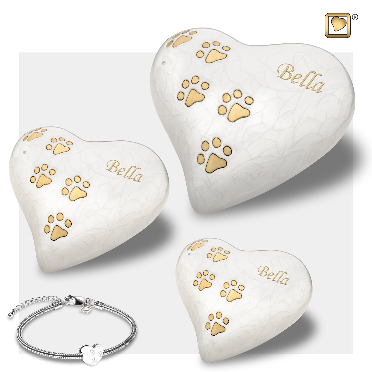 Heart Keepsake Pet Pearlescent White Urn