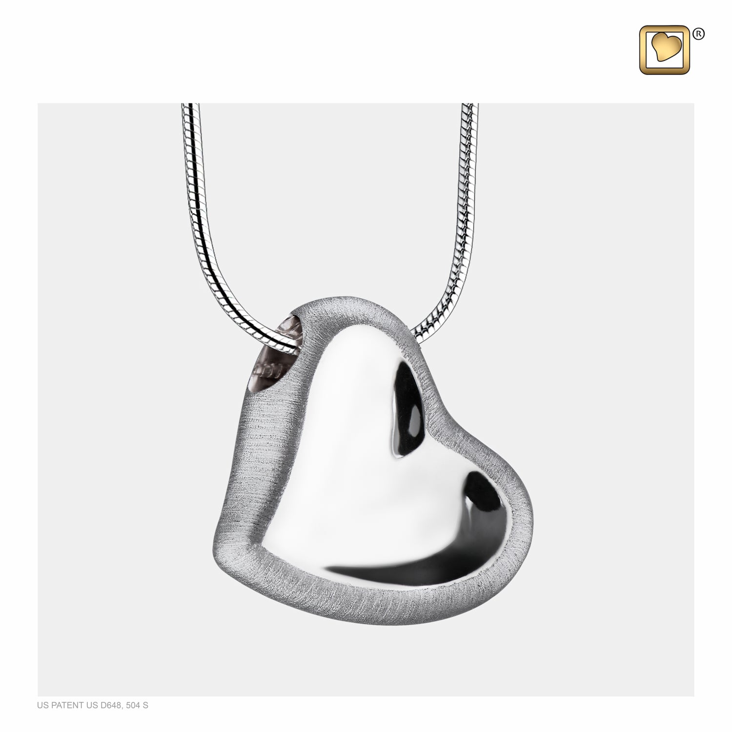 Sterling Silver Leaning Heart Rhodium Plated Two Tone Cremation Jewelry for Ashes - Pendant