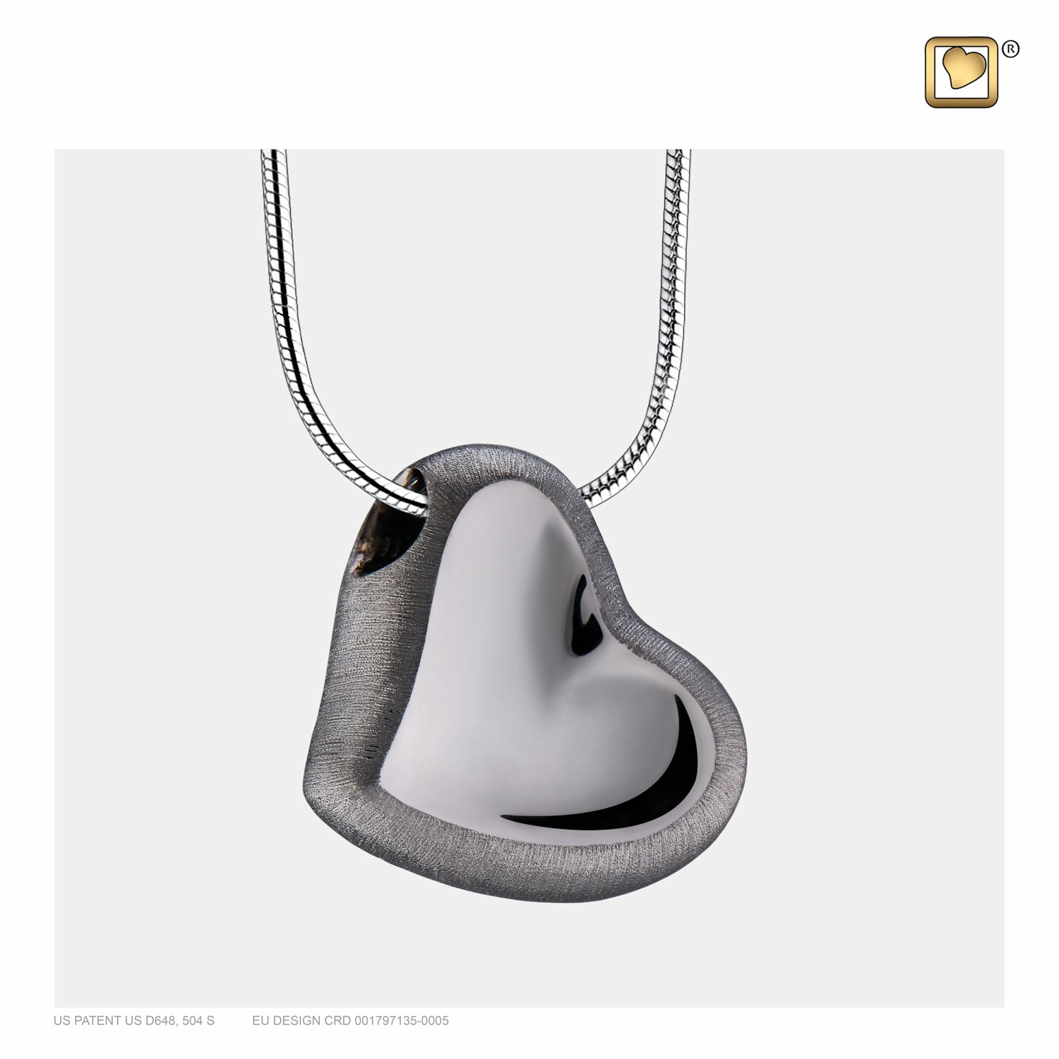 Sterling Silver Leaning Heart Ruthenium Plated Two Tone  Cremation Jewelry for Ashes - Pendant