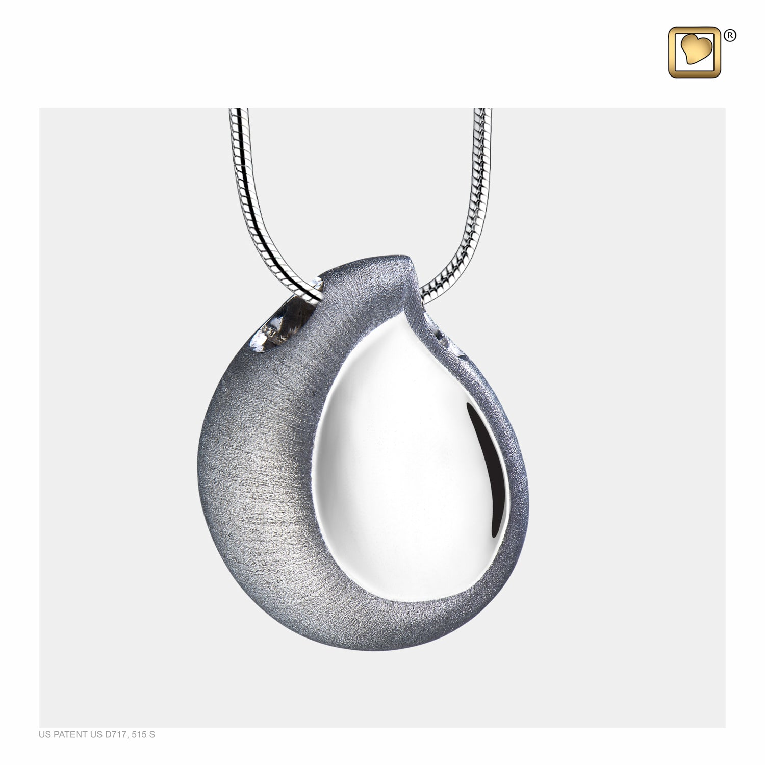 Sterling Silver TearDrop Rhodium Plated Two Tone Cremation Jewelry for Ashes - Pendant