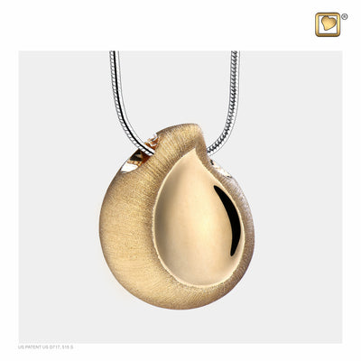 Sterling Silver TearDrop Gold Vermeil Two Tone  Cremation Jewelry for Ashes - Pendant