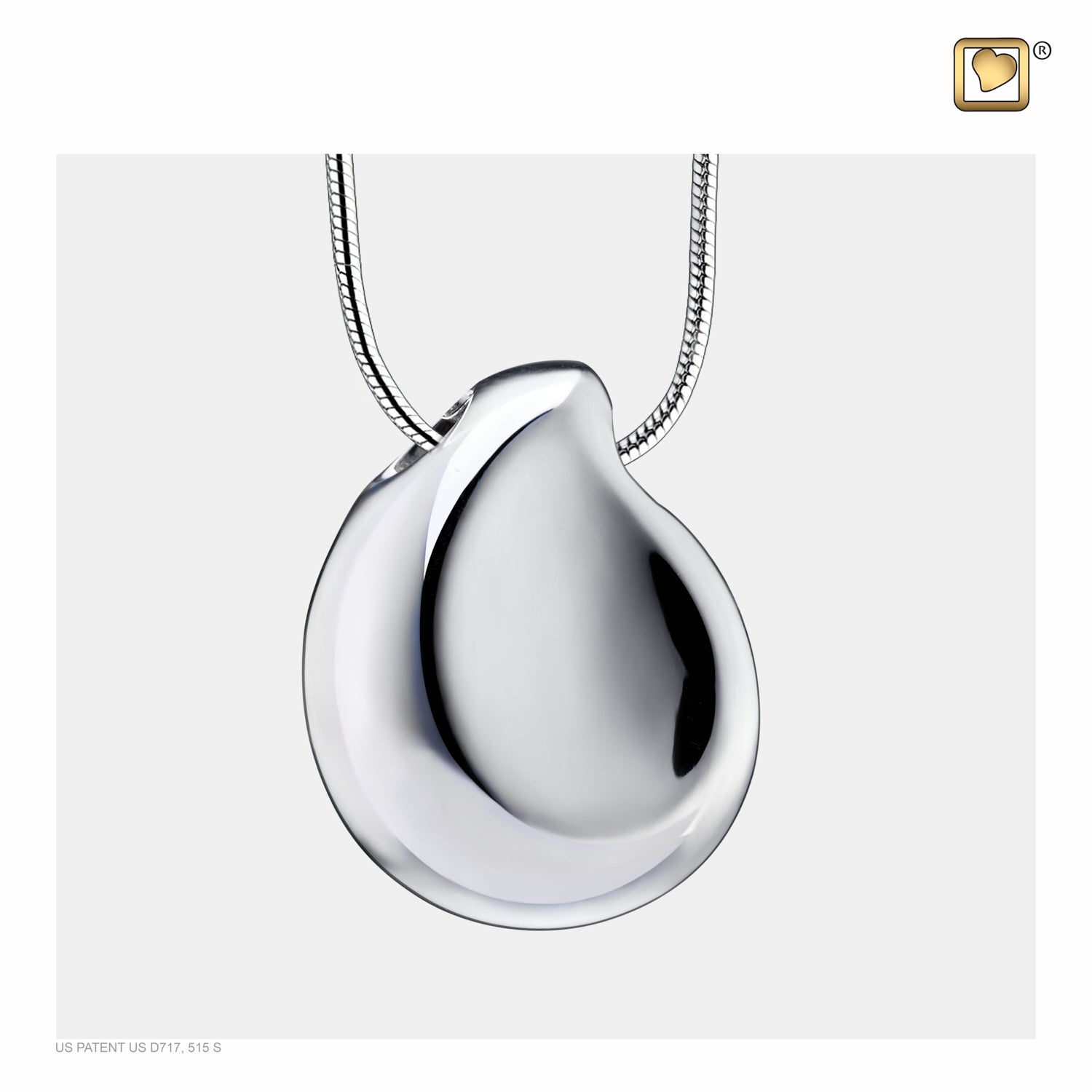 Sterling Silver TearDrop Rhodium Plated  Cremation Jewelry for Ashes - Pendant