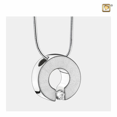 Sterling Silver Omega Rhodium Plated Two Tone with Clear Crystal Cremation Jewelry for Ashes - Pendant