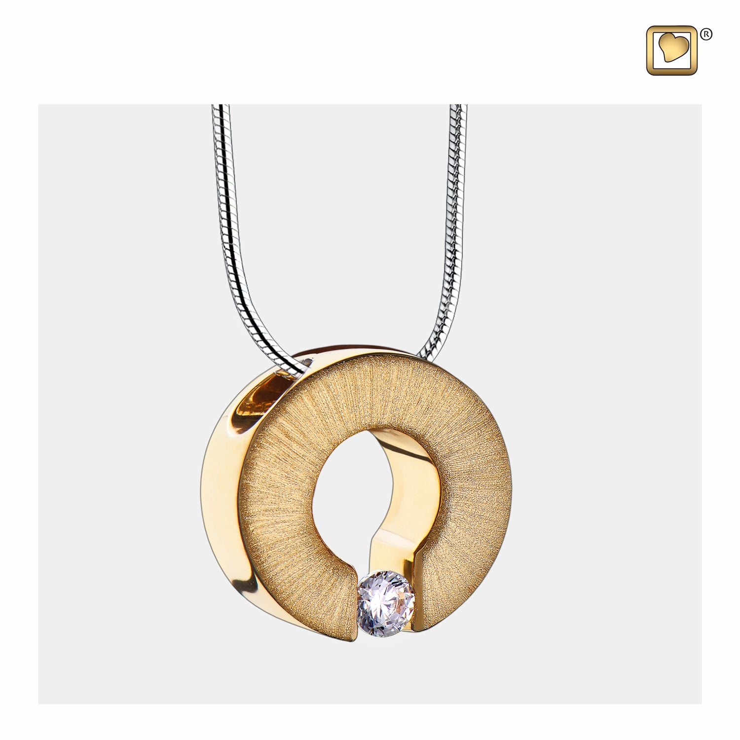 Sterling Silver Omega Gold Vermeil Two Tone with Clear Crystal Cremation Jewelry for Ashes - Pendant