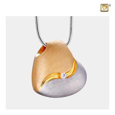 Sterling Silver Heartfelt Gold Vermeil Two Tone with Clear Crystal Cremation Jewelry for Ashes - Pendant