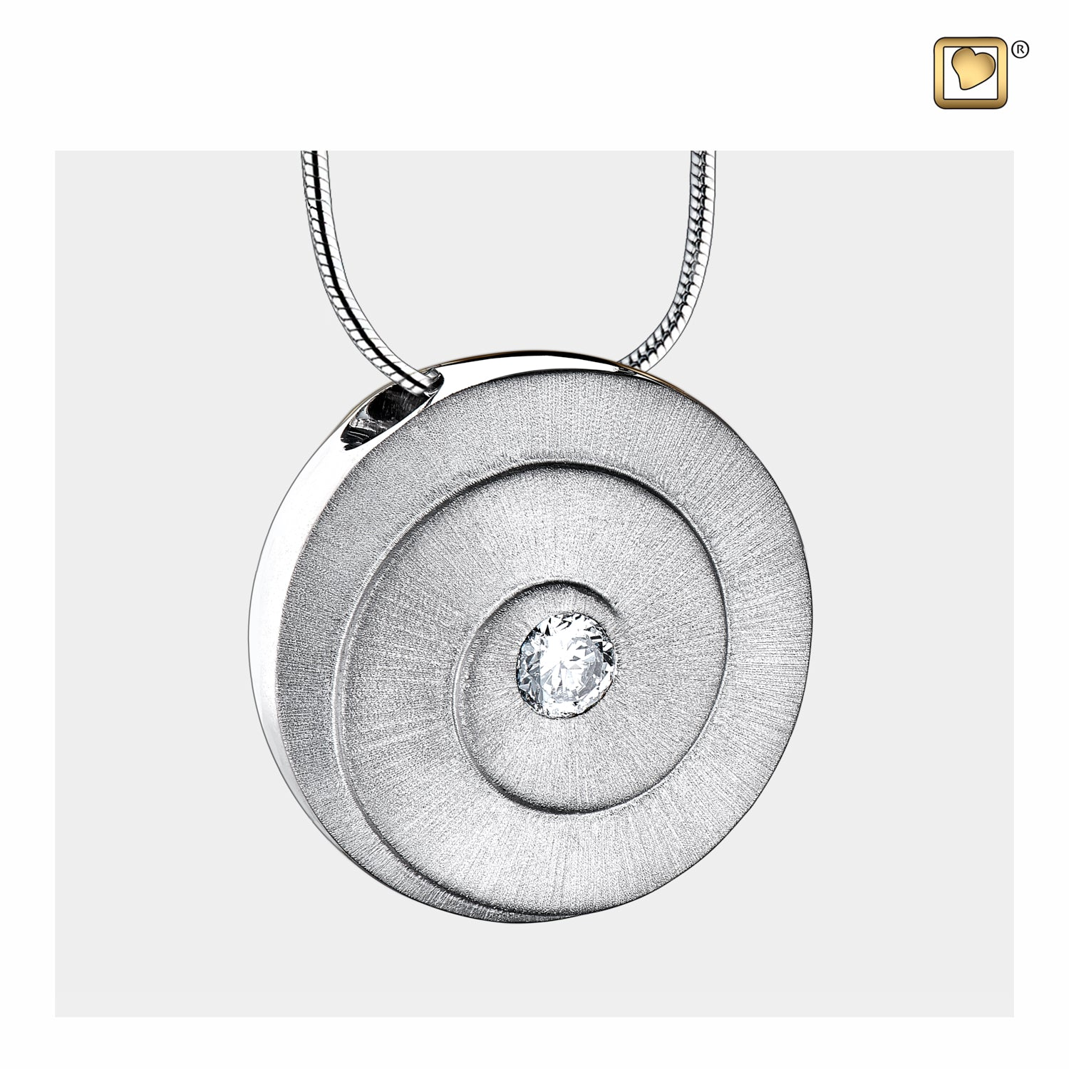Sterling Silver Eternity Rhodium Plated Two Tone with Clear Crystal Cremation Jewelry for Ashes - Pendant