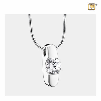 Sterling Silver Hope Rhodium Plated with Clear Crystal Cremation Jewelry for Ashes - Pendant