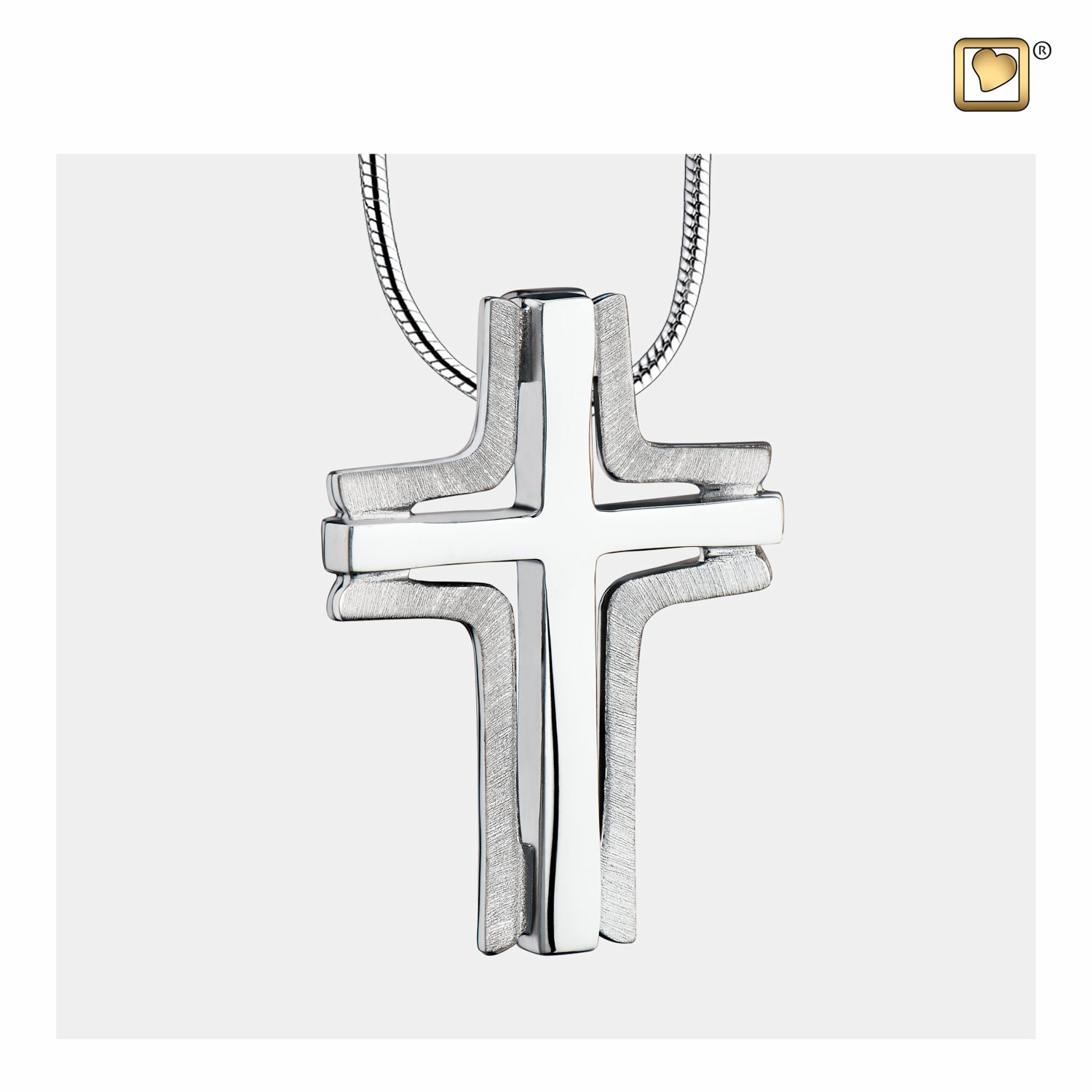 Sterling Silver Cross Elegant Two Tone Cremation Jewelry for Ashes - Pendant