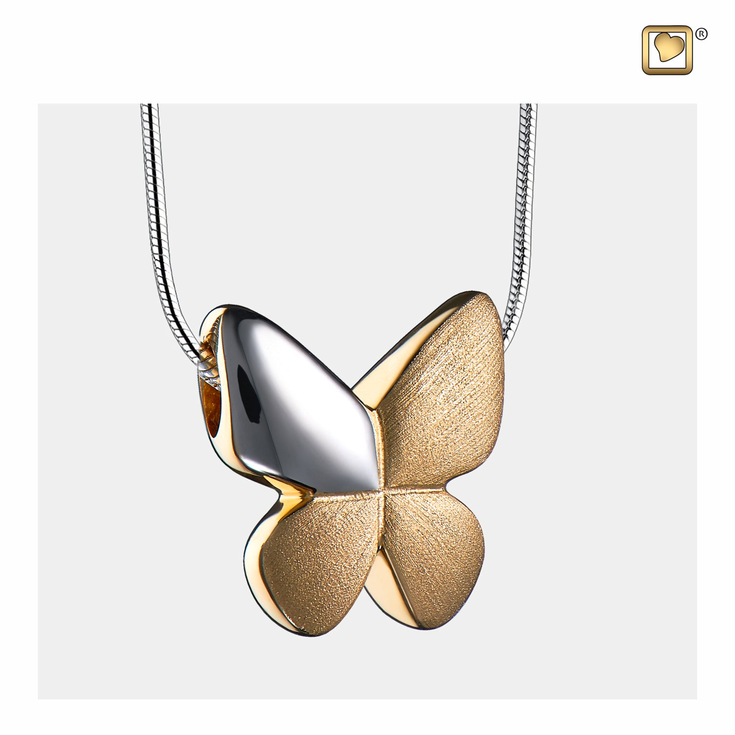 Sterling Silver Butterfly Gold Vermeil Two Tone  Cremation Jewelry for Ashes - Pendant