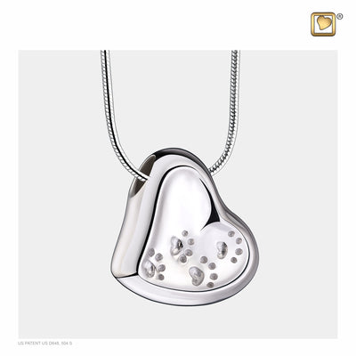 Sterling Silver Leaning Heart with Paw Prints Rhodium Plated Two Tone Cremation Jewelry for Ashes - Pendant