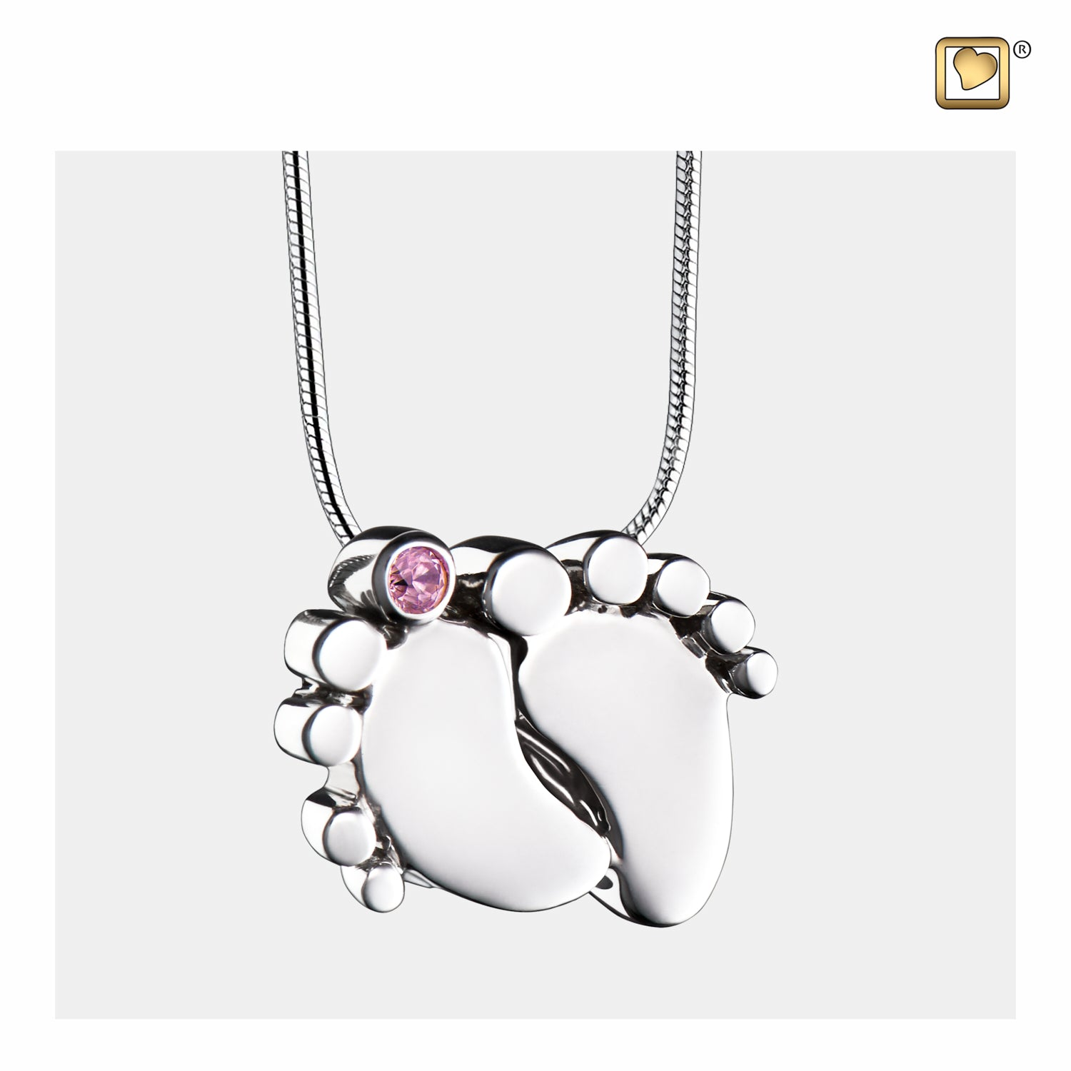 Sterling Silver Baby Feet Rhodium Plated with Pink Crystal Cremation Jewelry for Ashes - Pendant