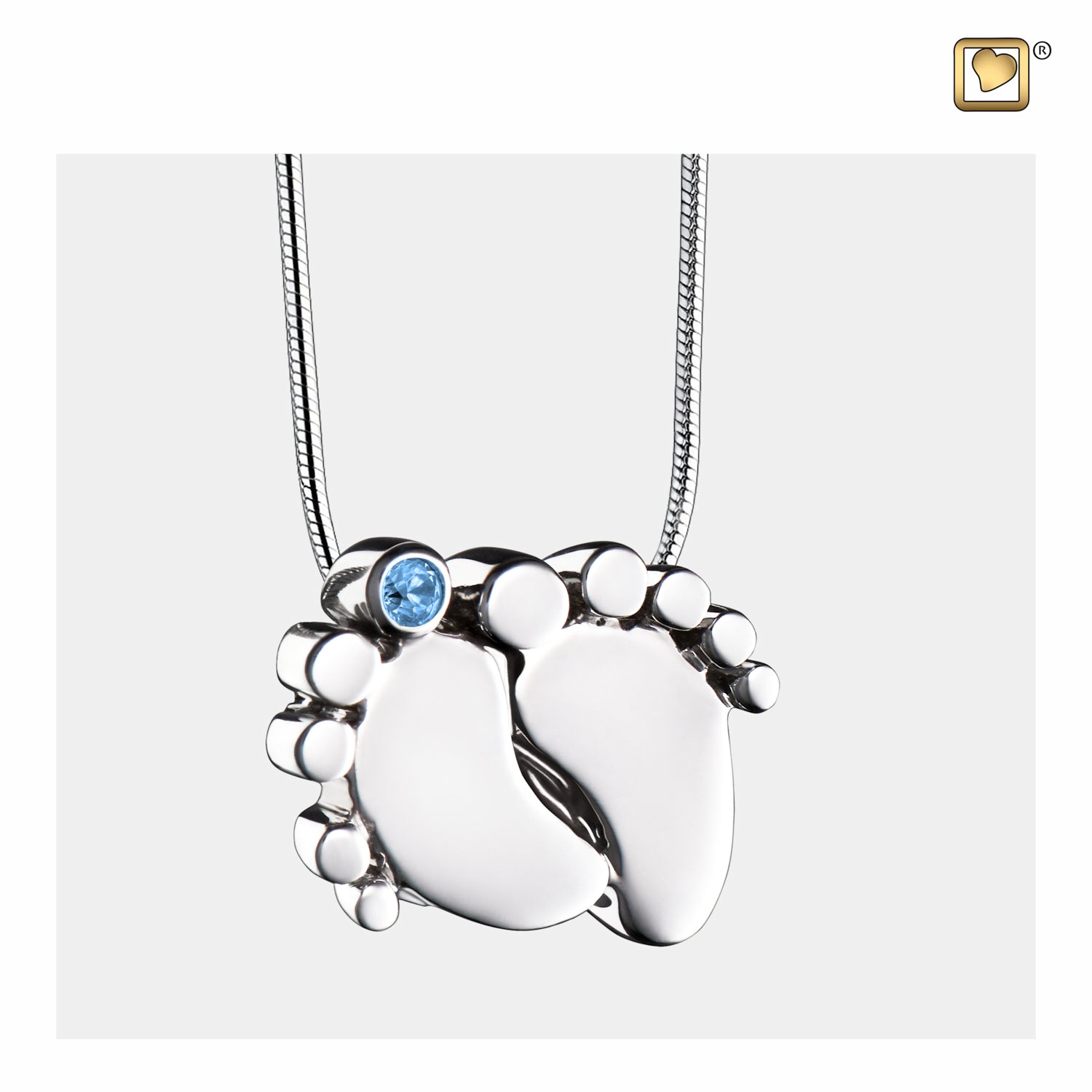 Sterling Silver Baby Feet Rhodium Plated with Blue Crystal Cremation Jewelry for Ashes - Pendant