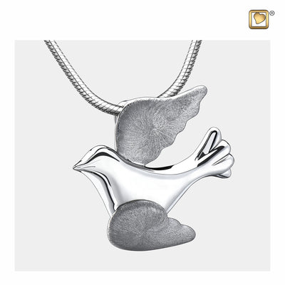 Sterling Silver Flying Dove Rhodium Plated Two Tone Cremation Jewelry for Ashes - Pendant