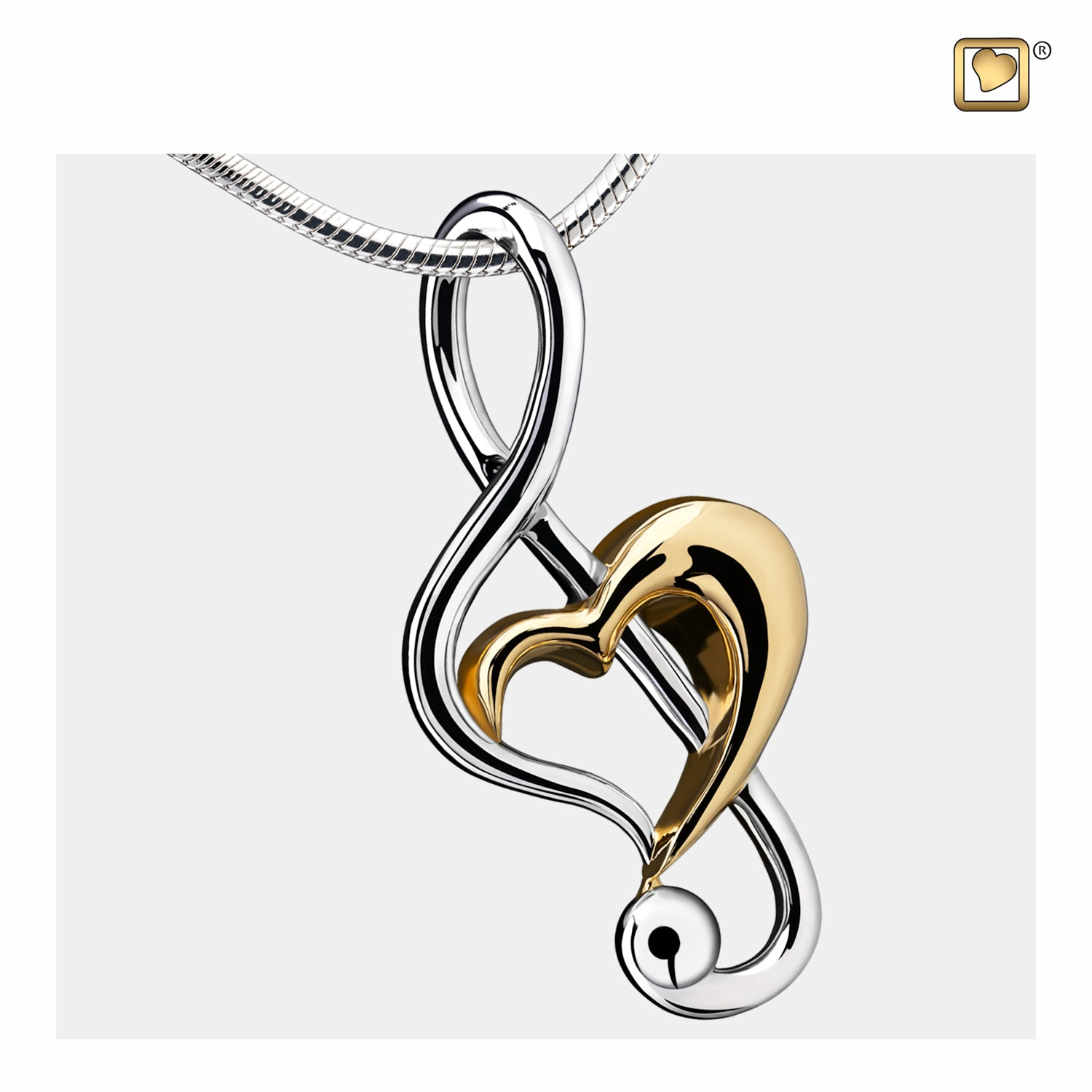 Sterling Silver Pendant Treble Clef Heart Gold Vermeil Two Tone jewelry for ashes