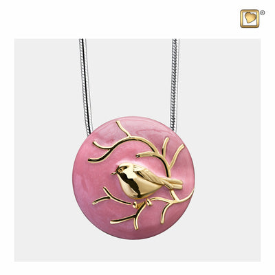 Sterling Silver Pendant Blessing Birds Pink Gold Vermeil jewelry for ashes