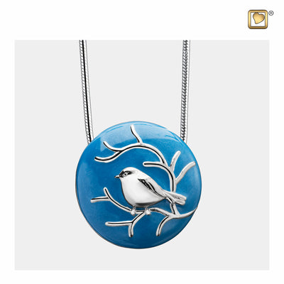 Sterling Silver Pendant Blessing Birds Blue jewelry for ashes