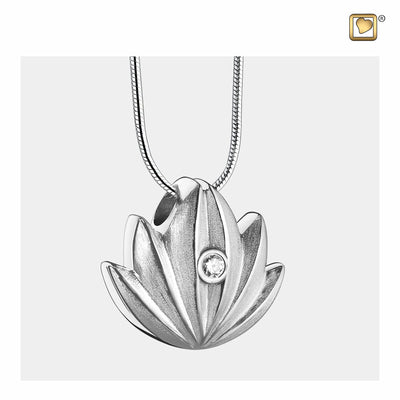 Sterling Silver Pendant Lotus two Tone with Clear Crystal jewelry for ashes