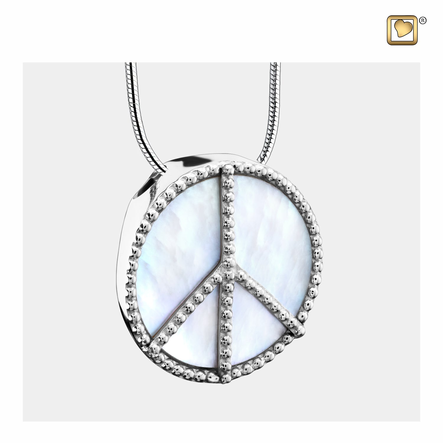 Sterling Silver Pendant Peace Mother of Pearl jewelry for ashes
