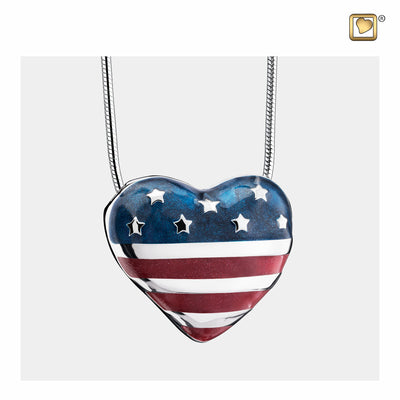 Sterling Silver Pendant Stars & Stripes jewelry for ashes