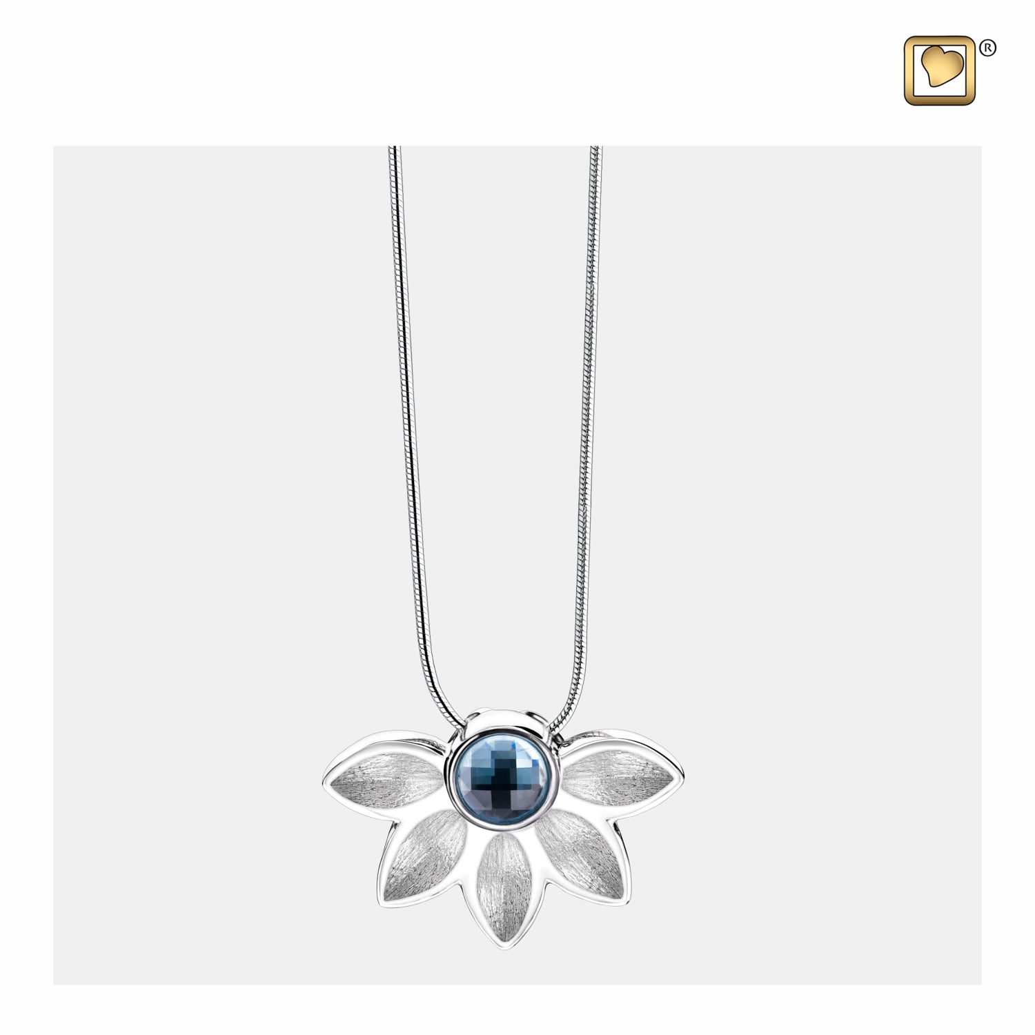 Sterling Silver Pendant Azure Two Tone with Blue Swarovski Crystal jewelry for ashes