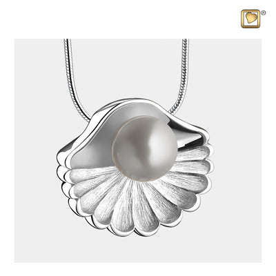 Pendant Sea Shell Pearl Silver Cremation Jewelry for Ashes