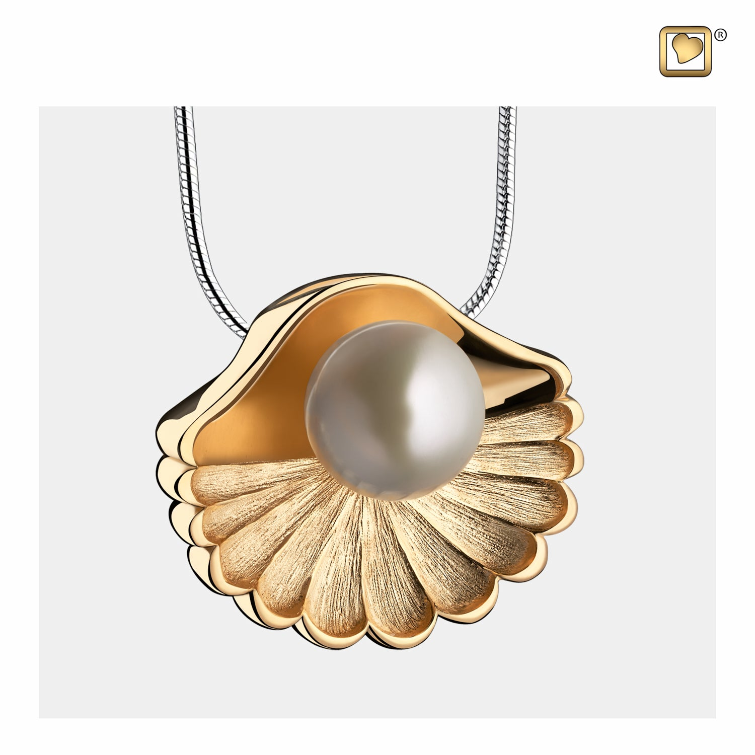 Pendant Sea Shell Pearl Gold Vermeil Cremation Jewelry for Ashes