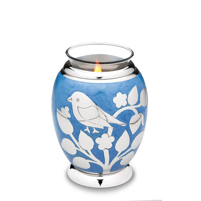 Tealight Silver Blessing Birds Cremation Urn