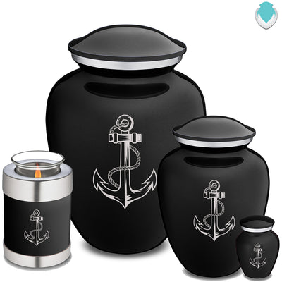 Medium Black Embrace Anchor Cremation Urn