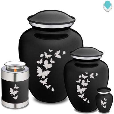 Candle Holder Embrace Black Butterfly Cremation Urn