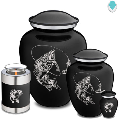 Adult Embrace Black Fishing Cremation Urn
