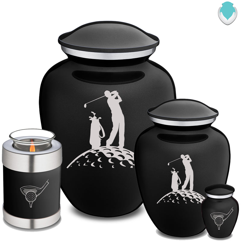 Adult Embrace Black Golfer Cremation Urn