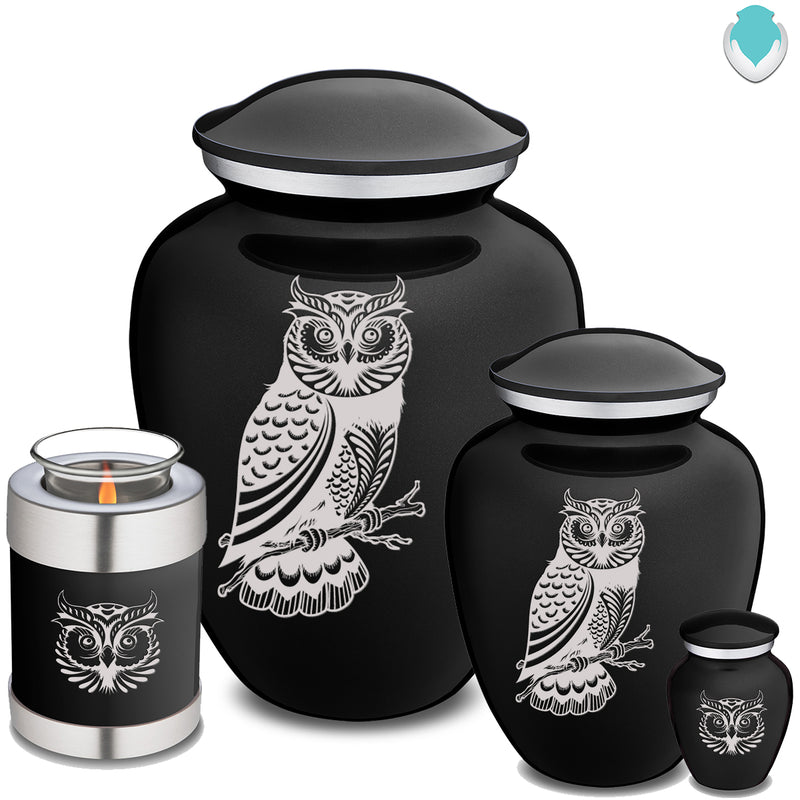 Adult Embrace Black Owl Cremation Urn