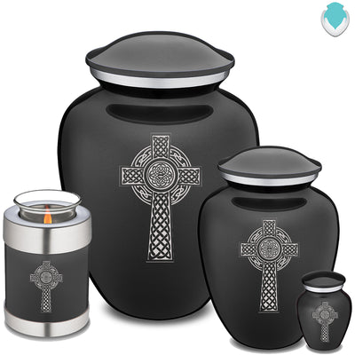 Adult Charcoal Embrace Celtic Cross Cremation Urn