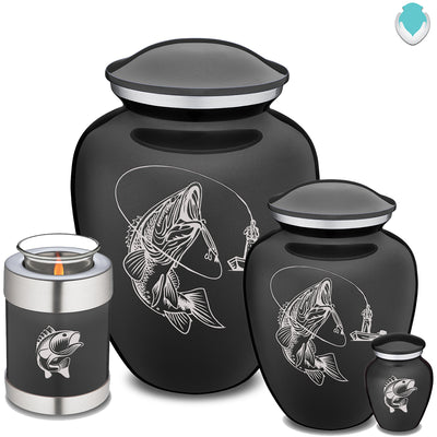 Adult Embrace Charcoal Grey Fishing Cremation Urn