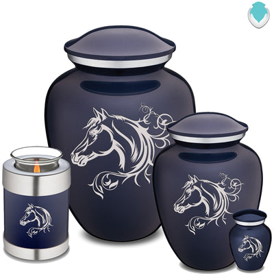 Adult Embrace Cobalt Blue Horse Cremation Urn