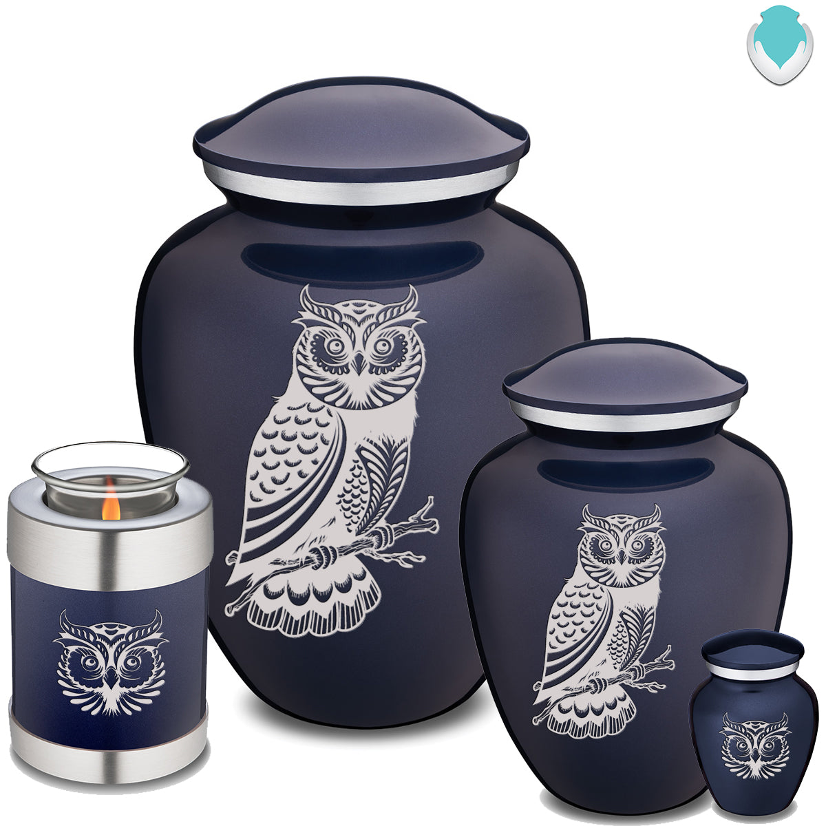 Adult Embrace Cobalt Blue Owl Cremation Urn