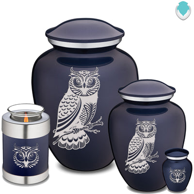 Candle Holder Embrace Owl Cobalt Blue Cremation Urn