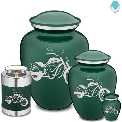 Medium Embrace Green Motorcycle Cremation Urn