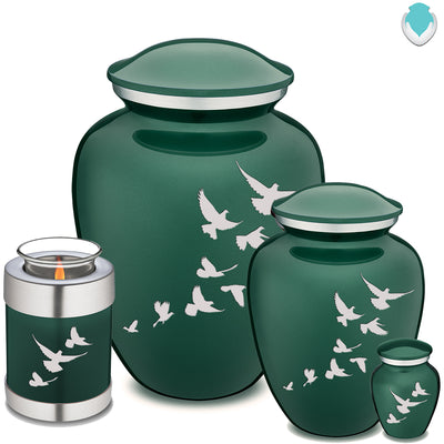 Medium Green Embrace Doves Cremation Urn