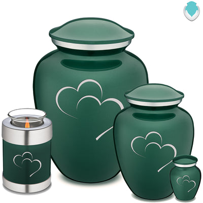 Adult Green Embrace Hearts Cremation Urn