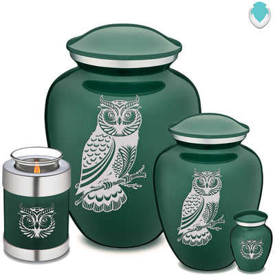 Candle Holder Embrace Owl Green Cremation Urn