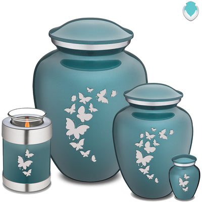 Adult Embrace Teal Butterfly Cremation Urn