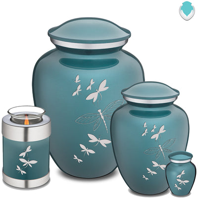 Medium Embrace Teal Dragonflies Cremation Urn