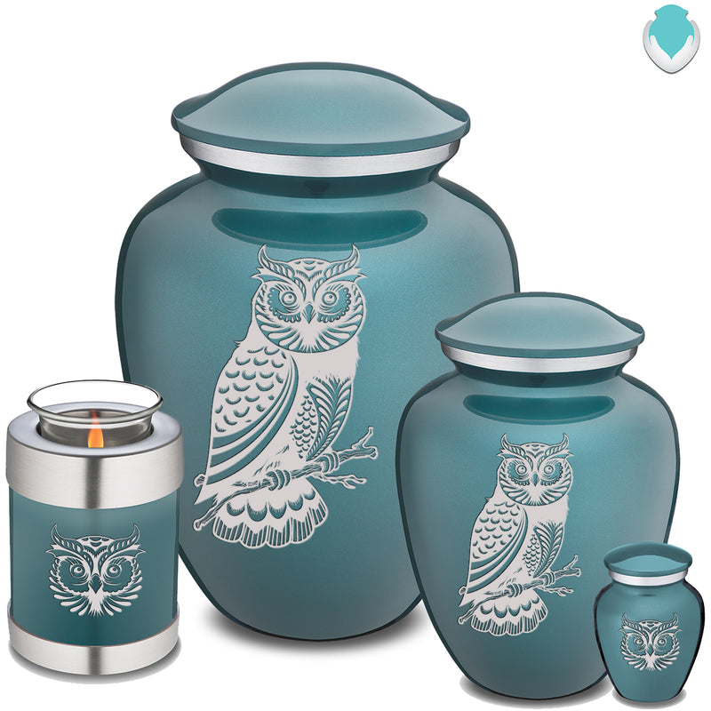Adult Embrace Teal Owl Cremation Urn