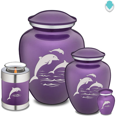 Medium Purple Embrace Dolphins Cremation Urn