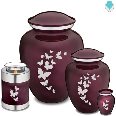 Candle Holder Cherry Purple Embrace Butterfly Cremation Urn