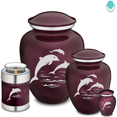 Medium Cherry Purple Embrace Dolphins Cremation Urn